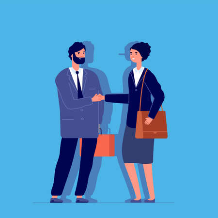 Woman liar. Long nose, business fraud metaphor. Female cheat fake smile and handshake. Flat partners, manager and client vector illustration. Woman liar false with long nose in business