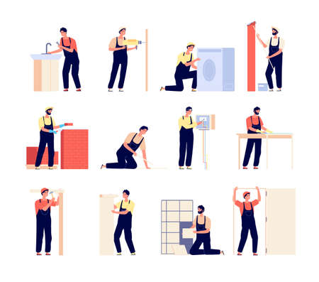 Repairman. Home workers, electrician carpenter and painter. Flat men with repair tools, people renovation working. Handyman vector set. Maintenance handyman, contractor and repairman
