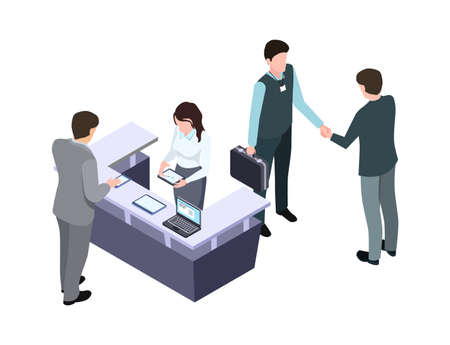 Isometric administrator. Woman talk with man. Business meeting and handshake. People on conference or office workers vector illustration. Receptionist cartoon, professional communication reception