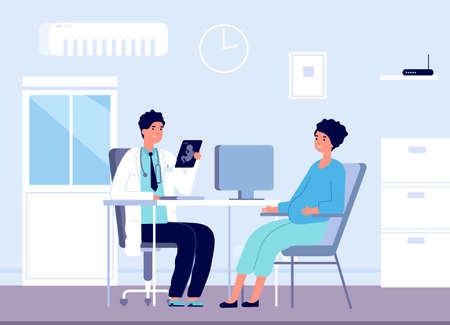 Pregnant woman and doctor. Gynecologist clinic office, pregnancy patient consulting in gynecology. Prenatal check up vector illustration. Pregnant woman visit doctor, medical healthcare