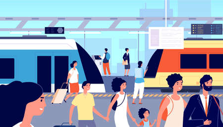 Railway station. Trains transport, city tourism and traveller. Crowd with suitcases on commuter train or subway platform vector illustration. Train railway, metro station, city subway transport Ilustrace