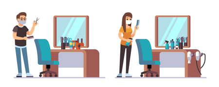 Hairdresser characters. Welcome to barbershop, male female barbers waiting customers. Man woman stylists chairs, haircut accessories and mirrors vector illustration. Barbershop with hairdresser team Illustration
