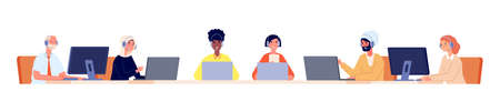 Hotline service. Customer support team, call center business office operators in headset. Multicultural staff helpdesk vector illustration. Office support center, online assistant and consultant Stock Illustratie