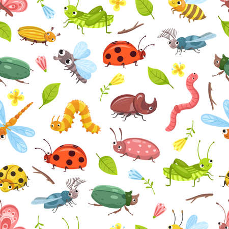 Beetle pattern. Isolated bugs, ladybug dragonfly, baby textile design. Cute wild insects background. Floral forest vector seamless texture. Ladybug and dragonfly, bug insect and beetle illustration