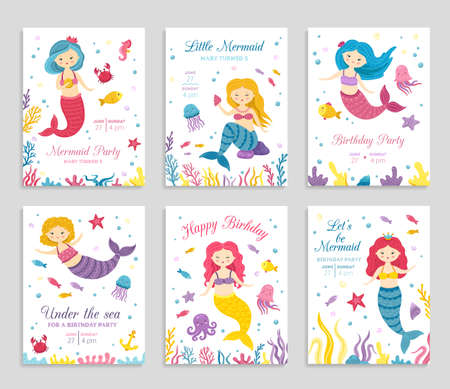 Mermaid invite cards. Birthday poster, kids party invitation. Cute ocean princess and animals flyers. Amazing sea festive vector banners. Invitation typography birthday with underwater illustration