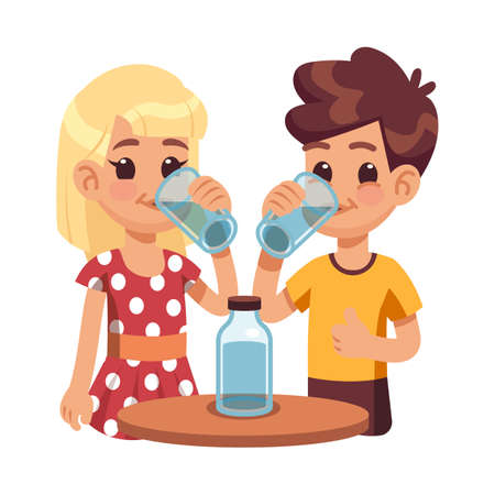Kids drink water. Children with glass cup, thirsty boy girl. Healthy lifestyle of cute happy child. Cartoon brother sister and bottle vector illustration. Character with clear beverage freshness