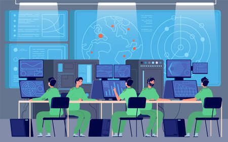 Government control center. Command room, engineers controlling military mission. Security station, cybersecurity department vector. Government security center, control and surveillance illustration Illusztráció