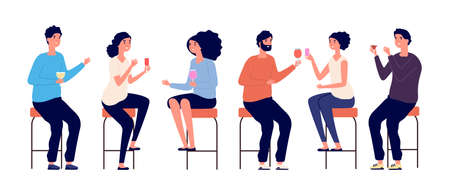 People sitting on bar stools. Friends meeting, man woman drinking cocktails wine. Isolated boy girl in bar or cafe, evening or birthday party vector illustration. Stool bar, woman and man sit on chair