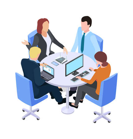 Teamwork. Isometric business meeting, people talking about project at table or working process. Brainstorm vector illustration. Business teamwork meeting, 3d conversation people in office