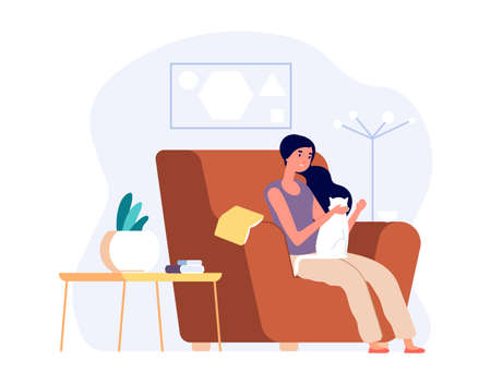 Woman with cat. Girl relaxed in cozy living room and stroking kitten. Self isolation, introversion or single life. Female with pet drink coffee, vector illustration. Cozy chair for woman with cat