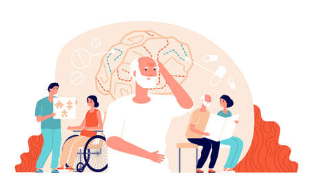 Alzheimer disease. Illness neurology therapy. Elderly loss memory, brain treatment. Senior patient medical rehabilitation vector concept. Illustration alzheimer brain, dementia disease