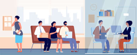 Job interview in office. Occupation recruitment, female communication with employee. Nervous people queue, professionals vector illustration. Recruitment interview candidate, business occupation Stock Illustratie