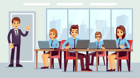 Call center office. Cute hotline managers, businessman or administrator character. Customer service, online calling line. Press agents in headphone vector illustration. Support hotline service office