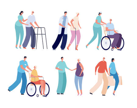 Old people nursing. Smiling volunteers, care of seniors and disabled persons. Health help services workers. Elderly and nurses vector set. People elderly and volunteer help illustration