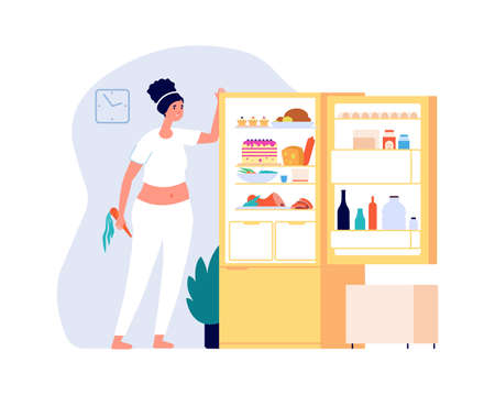 Night eating. Woman standing open fridge with food. Diet time, overweight problems vector illustration. Night hungry at home, eating lady