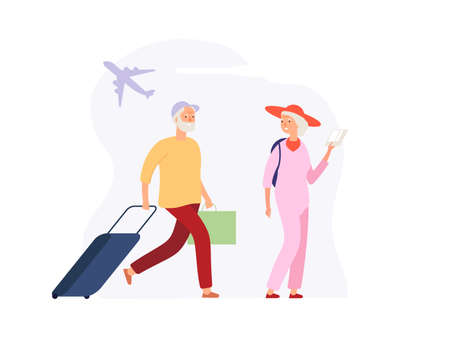 Vacation time. Elderly travellers with luggage on airport terminal. Woman man with suitcases awaiting boarding vector concept. Grandmother and grandfather retired, tourist travel illustration