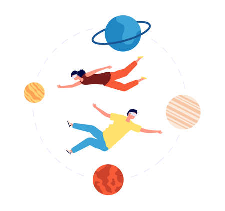 Virtual space travel. People vr glasses flying between planets. Augmented Reality, modern video games or interactive entertainment. Vector illustration. Virtual reality glasses travel