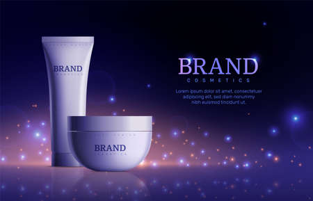 Dark cosmetic banner. Tube cream product for skin on sparkle background. Beautiful promo ad poster with realistic bottle vector illustration. Cream tube advertisement, product for care skin and beauty Vector Illustration
