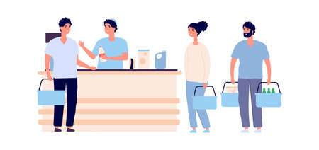 Buyers at checkout. People crowd queue with shopping carts. Flat grocery store and shoppers, male female vector characters. Checkout counter, customer in retail supermarket illustration Ilustrace