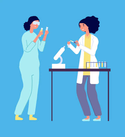 Laboratory research. Woman man epidemiologists, lab virus study. Scientists in white coats with equipment vector illustration. Woman science with microscope, chemistry medical people Ilustracja