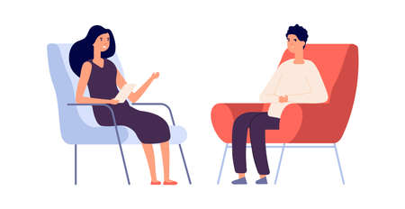 Woman psychologist. Couple flat man woman sitting on chairs. Psychotherapy session or psychological consultation. Sad frustrated guy vector. Psychologist woman, psychiatrist and patient illustration