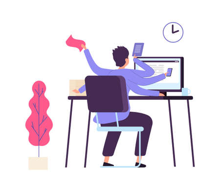 Unorganized manager. Deadline, man is angry at workplace and tears paper. Business fail, important tasks not completed on time. Cartoon male vector character. Business office paperwork illustration