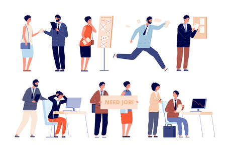 Business trouble. Company financial failure, bankruptcy or crisis. Leadership and enterprise, no office job for employee vector illustration. Financial trouble, loss and crisis failure