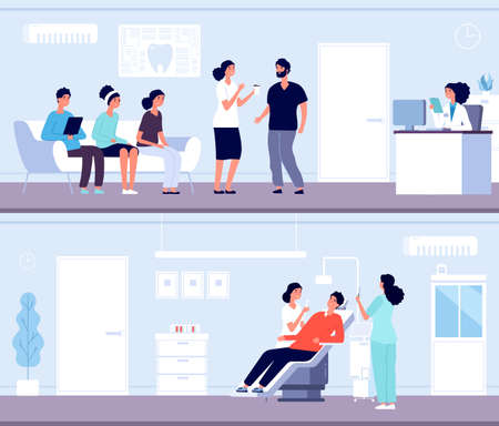 Dentist clinic. Patient queue in dentistry. Teeth health and care. Hospital waiting room reception. Professional stomatology vector. Dentist clinic office, dentistry hospital illustration Stock Illustratie