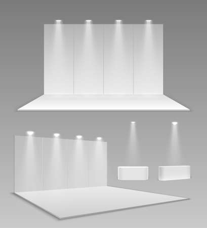 Realistic empty stands. 3d event exhibition panel mockup, modern blank expo wall. Blank showroom construction. White interior for trade vector illustration. Empty presentation showroom with screen