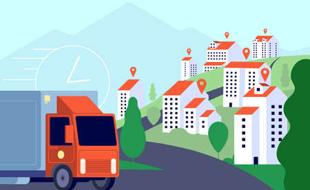 Delivery truck in city. Commercial post, fast express mobile transportation. Gps tracking services, smart logistic vector illustration. Commercial post shipping, delivery carry package