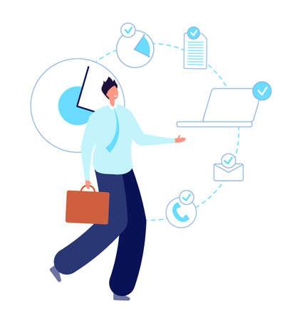 Multitask working man. Executive entrepreneur, smart skill businessman. Self time planning manager, productive employee vector illustration. Productivity guy workaholic, businessman smart overworked