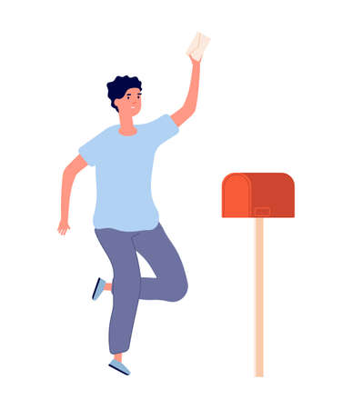 Man got letter. Happy adult, newsletter from work or university or important news. Post service delivery, mail receiving vector illustration. Character with mail, delivery envelope in mailbox