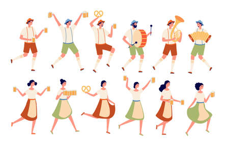 Oktoberfest characters. Autumn traditional beer festival, persons dancing with drinks. German fest, people in bavarian costumes vector set. Illustration oktoberfest character in traditional dress Ilustracja