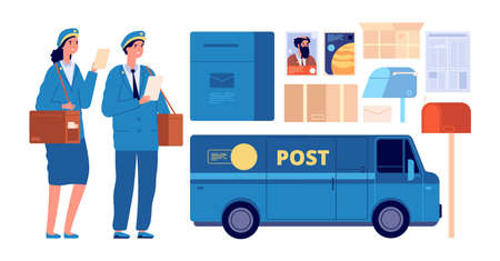 Postman characters. Postal mailman, woman man in uniform send envelopes. Post office equipment parcel letter, delivery service vector set. Illustration postman and postal box mail
