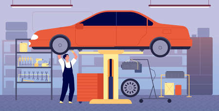 Car garage. Auto repair service, workshop station with tool equipment. Mechanic maintenance vehicle, transport check in vector illustration. Workshop mechanic auto, maintenance and check