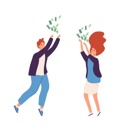 Rain from cash. People rejoice in wealth, man woman happy characters. Unexpected gain, big return on investment vector illustration. Woman and man with dollar cash, successful businessman Ilustração
