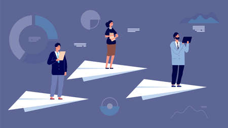 Business team leader. People on paper planes flying among economic charts. Startup project, financial managers or entrepreneurs vector characters. Leader success, leadership business team illustration Ilustração