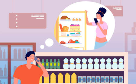 Call from store. Man talking phone from grocery with woman near fridge. Young husband buy foods home and calling to wife vector illustration. Character in grocery phone to home Ilustrace