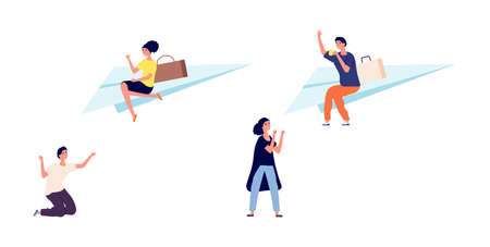 Divorce or separation. Girl guy walk away from partners. Bad relationships, frustrated and happy people. Man flies away on paper airplane vector illustration. Separation and divorce relationship