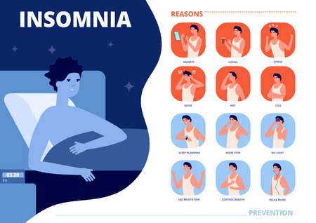Insomnia causes. Sleep problem, anxiety nightmare reasons and prevention. Stressful man in bed, night dreams control vector illustration. Insomnia sleep problem, health dream bedroom