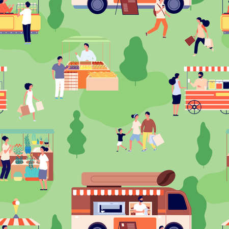 Food market pattern. People buy farm goods, counters with craft products. Summer outdoor festive activity background. Street shop vector seamless pattern. Outdoor sale park, illustration food street
