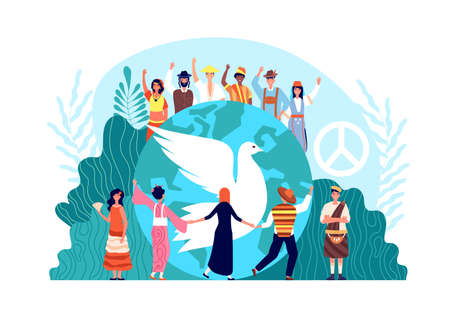 World global harmony, unity and religion. Hope or love symbol, dove and diverse people together vector concept. World love freedom illustration