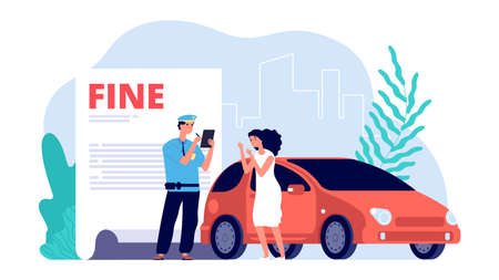 Woman and traffic police officer. Policeman writes out fine, improper parking or violations. Upset girl driver vector illustration. Officer cop, woman and police traffic