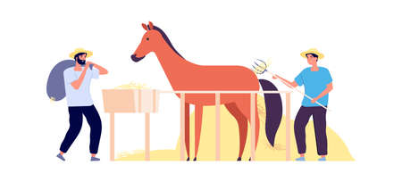 Rural life. Farmers harvest hay, flat horse corral. Isolated agricultural workers with pony. Autumn harvesting time vector illustration. Farmer horse agriculture, animal farm country