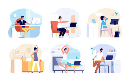 Office syndrome. Stretching exercise, neck back shoulder stretch. Sitting work from home, fitness workout for freelancer vector illustration. Office body syndrome, business stretching for health Vektorgrafik