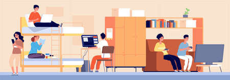 College dormitory. Student hostel, alternative accommodation in dorm. Cartoon boy girl teenager working studying playing vector illustration. Students college and room interior
