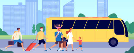People travel bus. Public transport station, crowd running with suitcases. Tourists group transportation, travel service vector illustration. Bus transport travel, people transportation trip
