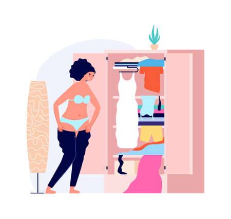 Fat problems, overweight vector illustration. Clothes dressed, woman fashion and cheerful Ilustración de vector