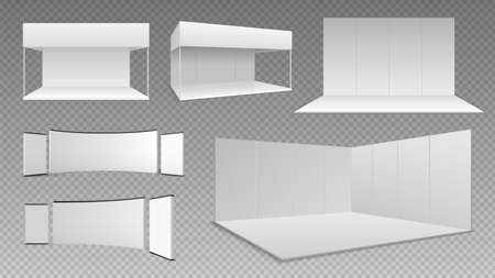 Expo stands mockup. Event showroom design, isolated 3D exhibition panels. Empty realistic wall and floor, white booth display illustration. Business trade equipment vector set, panel exhibition
