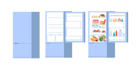 Food open fridge. Closed opened refrigerator, flat full and empty foods storage with doors. Isolated kitchen freezer vector illustration. Refrigerator door with food, kitchen appliance open and closed